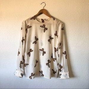 Vintage 100% silk button-back butterfly blouse